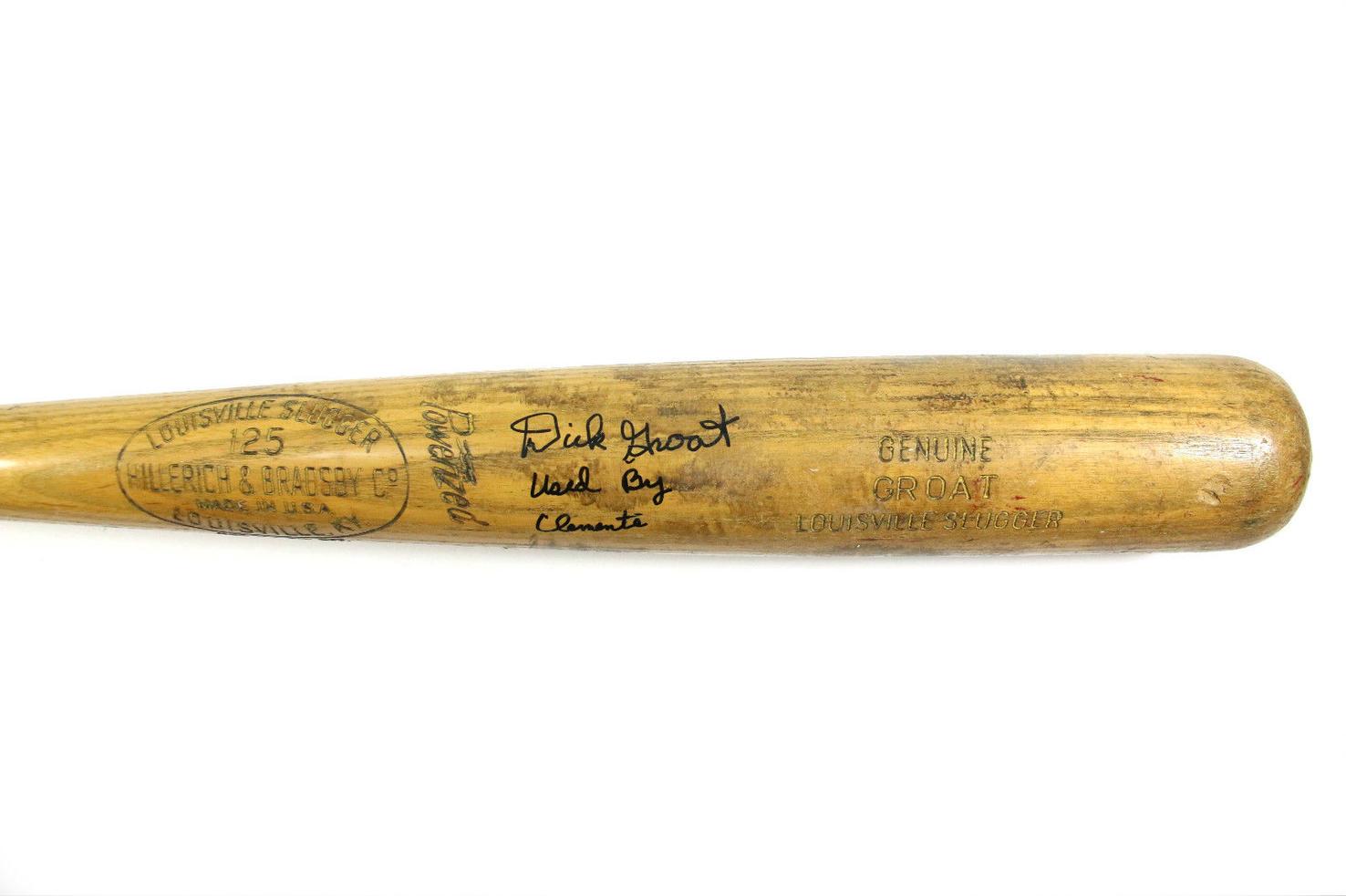 Name:  ROBERTO CLEMENTE DICK GROAT trademark barrel block letter GROAT area  bat 1961-62 GAME USED PITT.jpg Views: 123 Size:  93.2 KB