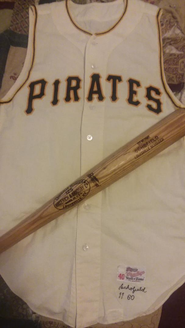 Name:  Dick Schofield Pirates 1960 D145 bat and jersey front view 1960 Game Used Pittsburgh Pirates  Ho.jpg